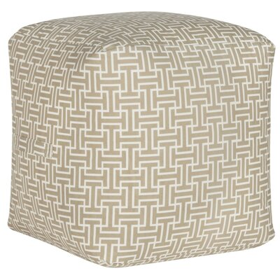 Lysistrate Cube Pouf Ottoman Upholstery: Cream/White