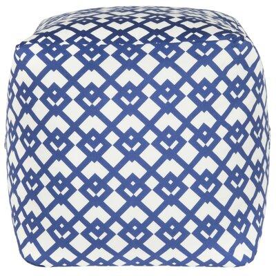 Straton Pouf Ottoman Upholstery: Blue/White