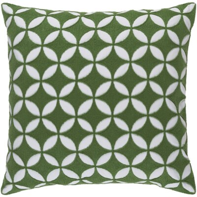 Serrato Cotton Throw Pillow Size: 18 H x 18 W x 4 D, Color: Emerald/Kelly Green/Ivory