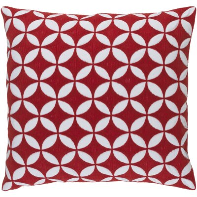 Serrato Cotton Throw Pillow Color: Poppy/Ivory, Size: 20 H x 20 W x 4 D