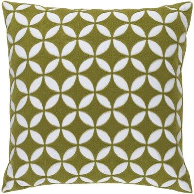 Serrato Cotton Throw Pillow Size: 22 H x 22 W x 4 D, Color: Lime/Ivory