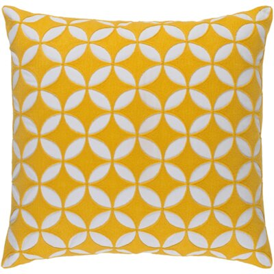 Serrato Cotton Throw Pillow Size: 18 H x 18 W x 4 D, Color: Sunflower/Ivory