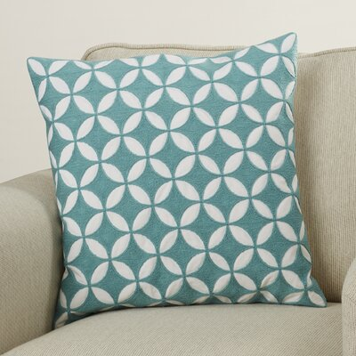 Mcculloch Cotton Throw Pillow Size: 18 H x 18 W x 4 D, Color: Aqua/Ivory