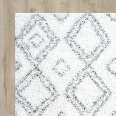 Baxley Manning White Area Rug Rug Size: 106 x 14