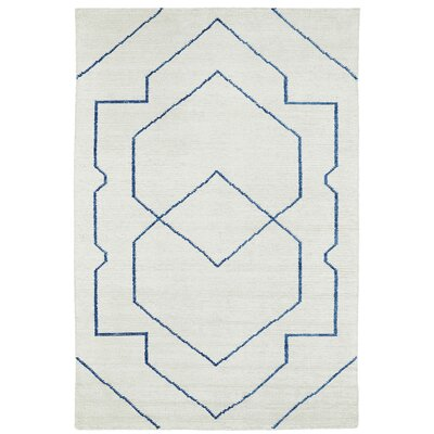 Aracely Hand Woven Ivory/Denim Blue Area Rug Rug Size: Rectangle 96 x 13