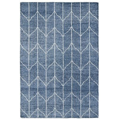 Hand Woven Denim Blue/Ivory Area Rug Rug Size: Rectangle 2 x 3