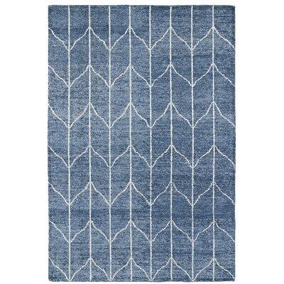 Handmade Denim Blue / Ivory Area Rug Rug Size: 8 x 11