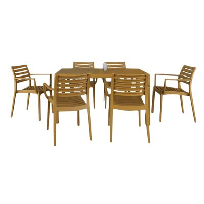 Nikoleta 7 Piece Dining Set Finish: Teak Brown
