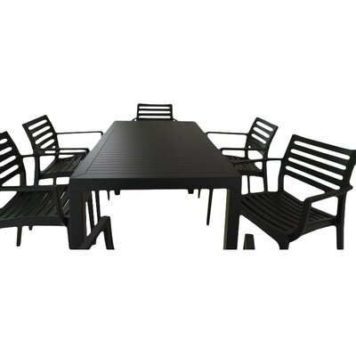 Nikoleta 7 Piece Dining Set Finish: Black