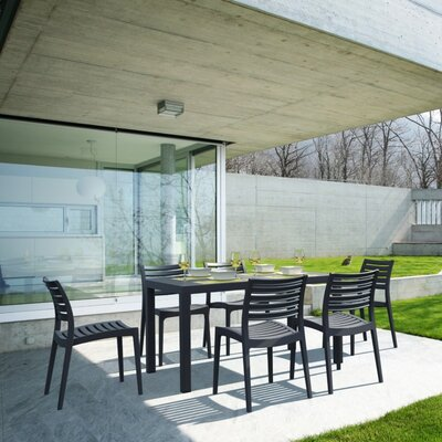 Melissus Outdoor 7 Piece Dining Set Finish: Dark Gray