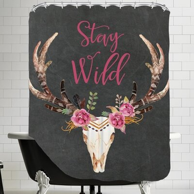 Stay Wild Skull C Shower Curtain Color: Chalkboard