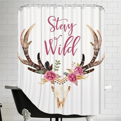 Stay Wild Skull C Shower Curtain Color: Cream
