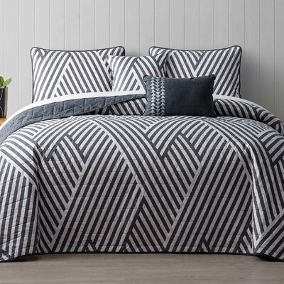 Servais 5 Piece Reversible Quilt Set Color: Gray, Size: King
