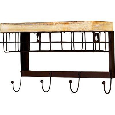 Modern 4 Hook Wall Rack with Basket MCRR2584 26550692