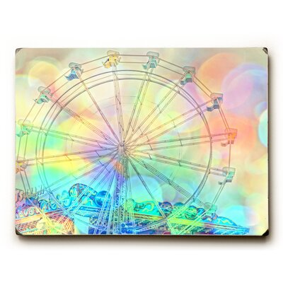 'Colorful Ferris Wheel' Wooden Graphic Art Size: 12