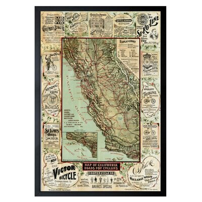 'Map of California 1896 for Cyclers' Framed Graphic Art Size: 24