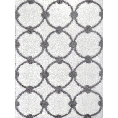 Abarca Ivory/Gray Shag Area Rug Rug Size: 28 x 311