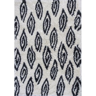 Electra Ivory/Charcoal Area Rug Rug Size: 53 x 77