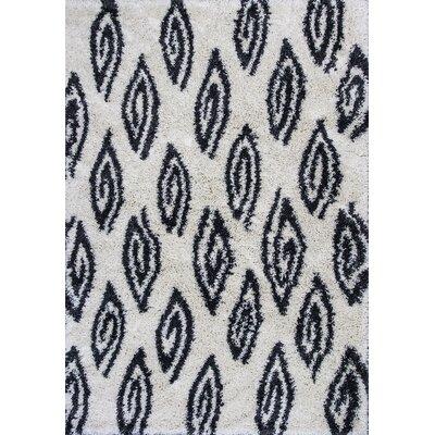 Electra Ivory/Charcoal Area Rug Rug Size: 33 x 53