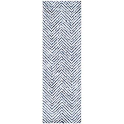 Arceo Hand-Tufted Ivory/Navy Area Rug Rug Size: Runner 26 x 8