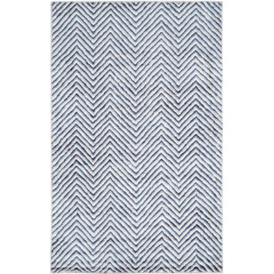 Arceo Hand-Tufted Ivory/Navy Area Rug Rug Size: Rectangle 5 x 8