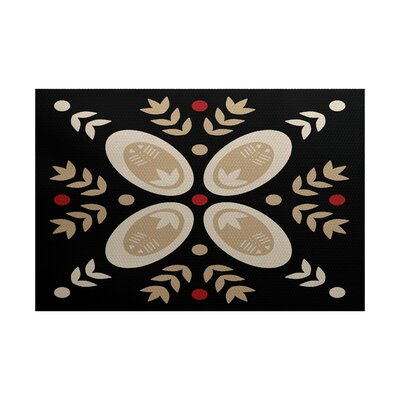 Winter Black Indoor/Outdoor Area Rug Rug Size: 4 x 6