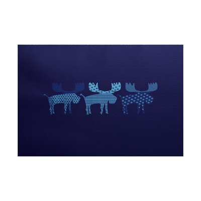 Reindeer Blue Indoor/Outdoor Area Rug Rug Size: 4 x 6
