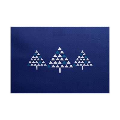 Christmass Tree Blue Indoor/Outdoor Area Rug Rug Size: 5 x 7
