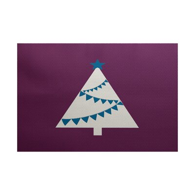 Christmass Tree Purple Indoor/Outdoor Area Rug Rug Size: 5 x 7