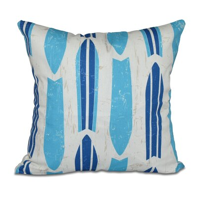 Cobscook Modern Geometric Outdoor Throw Pillow Color: Turquoise