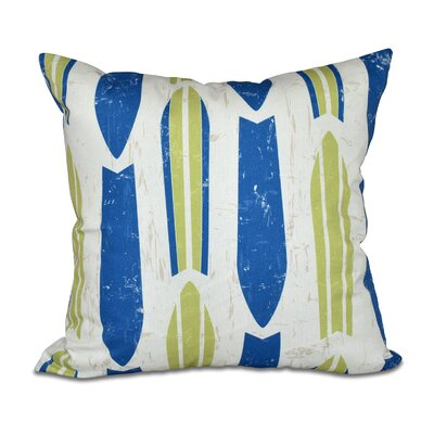 Cobscook Modern Geometric Outdoor Throw Pillow Color: Green