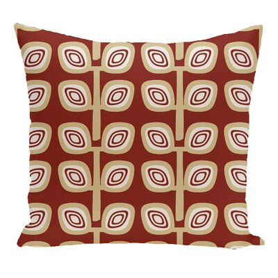 Philon Leaf Tree Geometric Outdoor Throw Pillow Color: Orange