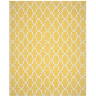 Lunar Hand-Loomed Yellow/Ivory Area Rug Rug Size: 8 x 10