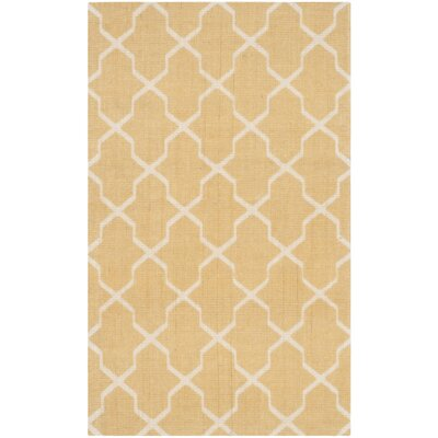 Lunar Hand-Loomed Yellow/Ivory Area Rug Rug Size: 23 x 39