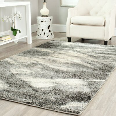 Vulpecula Gray and Ivory Area Rug Rug Size: Round 8