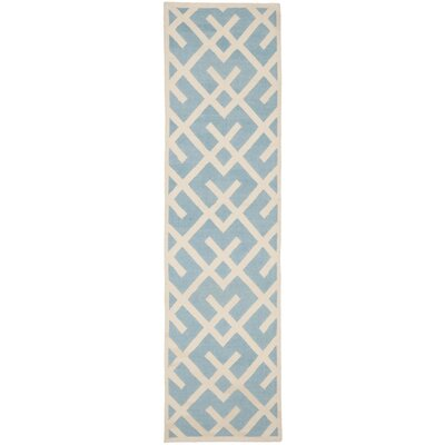 Cassiopeia Handmade Light Blue/Ivory Area Rug Rug Size: Runner 26 x 12