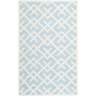 Cassiopeia Handmade Light Blue/Ivory Area Rug Rug Size: Rectangle 5 x 8