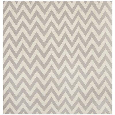 Vanderhoof Handmade Grey / Ivory Area Rug Rug Size: Square 6
