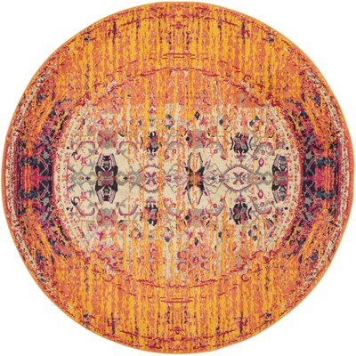 Hydra Orange Area Rug Rug Size: Round 5
