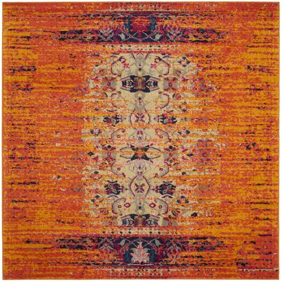 Hydra Orange Area Rug Rug Size: Square 5