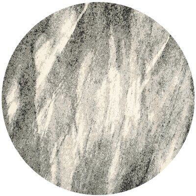 Vulpecula Gray and Ivory Area Rug Rug Size: Round 6