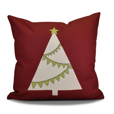 Christmas Tree Outdoor Throw Pillow Size: 16 H x 16 W, Color: Cranberry