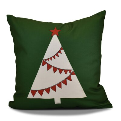 Christmas Tree Outdoor Throw Pillow Size: 18 H x 18 W, Color: Green