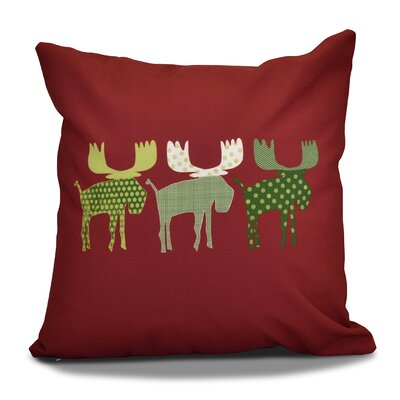 Christmas Decorative Holiday Animal Print Throw Pillow Color: Cranberry, Size: 18 H x 18 W