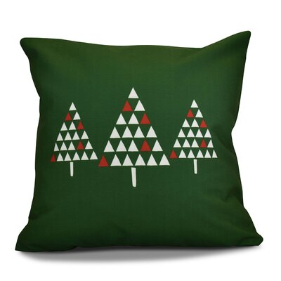 Christmas Trees Outdoor Throw Pillow Size: 16 H x 16 W, Color: Green