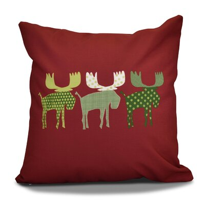 Christmas Decorative Holiday Animal Print Outdoor Throw Pillow Size: 16 H x 16 W, Color: Cranberry