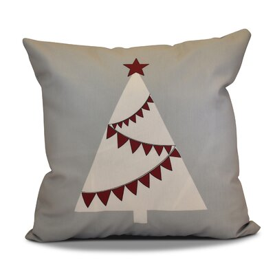 Christmas Garland Tree Throw Pillow Size: 18 H x 18 W, Color: Gray
