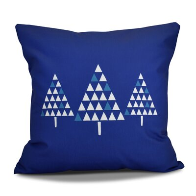 Christmas Trees Throw Pillow Color: Royal Blue, Size: 26