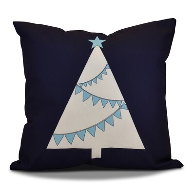 Christmas Garland Tree Throw Pillow Size: 18 H x 18 W, Color: Navy Blue
