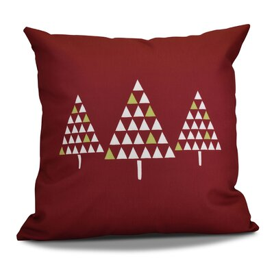 Christmas Trees Throw Pillow Size: 18 H x 18 W, Color: Cranberry